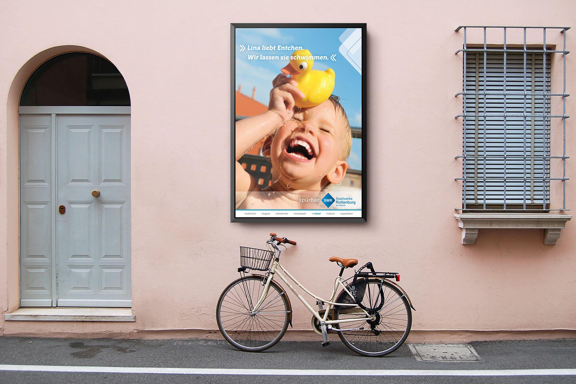 Poster Mockup der Stadtwerke Rottenburg an einer Wand